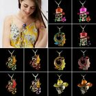 Retro Gold Jewelry Necklace Pendant Skull Rose Flower Crystal Sweater Chain Gift