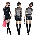 Slim Sexy Womens Crew Neck Lace Floral T-shirt Long Sleeve Shirt Tops Blouse