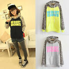 Women Hooded Leopard Letter Print Jacket Coat Sweatshirt Outerwear Tops Pullover