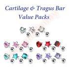 16G 6mm 3 Pack CZ Cartilage Tragus Bar Ear Rings Heart Circle Star