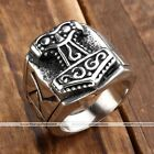 1pc Mens Stainless Steel Norse Thunder Viking Thor's Hammer Finger Ring Jewelry