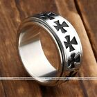 1pc Mens Punk Stainless Steel Cross Spinner Rotating Finger Ring Fashion Jewelry