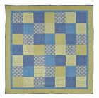 Caledon Blue & Yellow Cottage Patchwork Quilt Luxury, King, Queen, or Twin