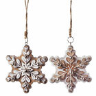 Large Wooden Snowflake w/ Jingle Bells Christmas Decorations - Two Designs