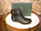 Clarks Black Ruched Leather Christine Club Ankle Boots NEW