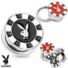 Pair Playboy Bunny Poker Chip Surgical Steel Screw Fit Hollow Tunnels Gauges
