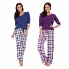 Ladies Flannel Check Bottoms & Jersey 3/4 Sleeve Top PJ Pyjama Nightwear Set New
