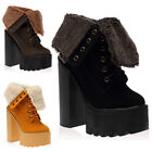 New Womens Lace Up Ladies Block Platform High Heel Ankle Boots Shoes Size 3-8