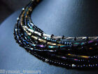 """Wicca black rainbow titanium gold silver glass beaded collar necklace goth 15"""""""