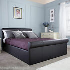 New - GFW Carolina Side Gas Lift Storage Bed - Black/Brown - Faux Leather