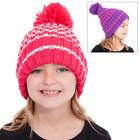 Childs Girls Chunky Rib Knit Striped Pompom Bobble Beanie Slouch Hat Purple Pink