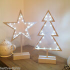 WHITE LED INDOOR LIGHT UP BATTERY XMAS CHRISTMAS TREE STAR TABLE TOP DECORATION