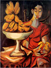 9924.Painting of woman with bananas in red dress.POSTER.home decor graphic art