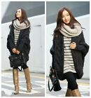 Womens Loose Batwing Sleeve Cable Knitted Coat Cardigan Sweater Cape Outwear LA