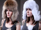 Genuine New Fashion Fox Fur Silver Trapper Hat With Earflaps Winter Ladies Cap