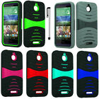 For HTC Desire 510 Deluxe Kickstand Double Layer Impact Case Phone Cover Stylus
