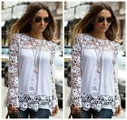 POP Women Sheer Long Sleeve Embroidery Lace Crochet Chiffon Shirt Top Blouse #LA