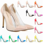 Womens Patent High Heels Corset Pointed  Party Pumps Court Shoes US Size 4- 11