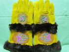 NATIVE AMERICAN PAIR FUR MITTS BEAR CLAWS MAGENTA & GREEN 13&1/2 INCHES LONG