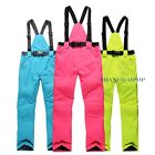 Men Women Ski Pants Trousers Salopettes Detachable Bib Brace Snowboard Warm New