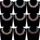 NEW Gorgeous Statement Vintage Gold Colorized Glass Crystal Choker Bib Necklace
