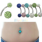1x Stunning Navel Belly Button Barbell Rhinestone Bar Ring Ball Body Piercing
