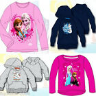 DISNEY FROZEN ANNA ELSA SNOWMAN GIRLS THICK HOODIE LONG SLEEVE TOP HOODED JUMPER