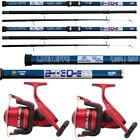 2 x 14FT Beach caster Sea Fishing Rod and Reel Set LN70 Reels + Oceancast Rods
