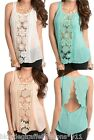 Open Scalloped Back Panels Crochet Lace Front Sleeveless Blouse Top S M L