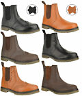 MENS SLIP ON LEATHER CASUAL BROGUE OFFICE WORK WORKER ANKLE CHELSEA BOOTS SIZE