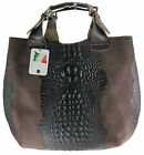 borsa a sacca grande pelle made in italy stampa animalier marrone scuro 9007/1