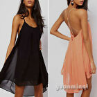 Women Backless Chiffon Low-cut Swing Sexy Cocktail Club Evening Party Mini Dress