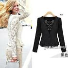 Autumn Women Crochet Floral Lace Button Top Office Jacket Blazer Coat Cardigan