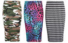 NEW LADIES CAMOUFLAGE DOGTOOTH LEOPARD PRINT BODYCON PENCIL MIDI SKIRT SIZE 6-12