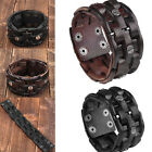 Chic Men's Braided Stud Cow Genuine Leather Belt Cuff Bracelet Wristband Gift