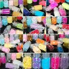 New 12 Mini Bottle Set Glitter Nail Art Powder Tips Rhinestone Decoration
