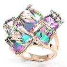 rose Gold GP faux swarovski crystal rainbow aurora borealis Cocktail Ring v696