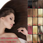 "Full Head Clips in Remy Human Hair Extensions 15 Colors Straight Length 16""-30"""