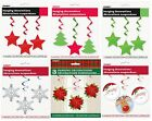 CHRISTMAS PARTY HANGING DECORATIONS - Swirls Stars Xmas