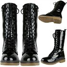 Women Zip Close Glossy Patent Leather Lace Up Mid Calf Combat Boots Black