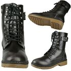 Womens Zip Close Lace Up Combat Lug Ankle Boots w/ Buckle Strap Gray