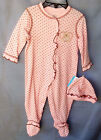 LITTLE ME 100 Cotton Light Pink All Over Dot Print Footie w/Matching Hat NWT