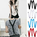 Mens Womens Elastic Clip-on Solid Color Y-Shape Adjustable Braces Suspenders