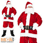 Deluxe Regal Santa Claus Mens Fancy Dress Plush Father Christmas Adults Costume