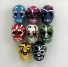 "Hand Painted Ceramic Beads, 1"" Day of the Dead Skulls Design, Mix"
