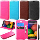 For Motorola Moto G 2014 Wallet Tray LEATHER Skin POUCH Case Phone Cover + Pen