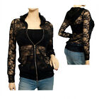 Plus Size Lace Zipper Front Hoodie Top Black