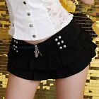 Micro Mini Skirt Tiered Studded Sexy Booty Skater Flare Clubwear Black/White New