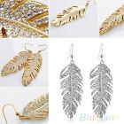 VIVID WOMEN'S BLING BOHO ALLOY FEATHER RHINESTONE EARDROPS HOOK DANGLE EARRINGS