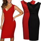 UK Womens Ladies V-Neck Sleeveless Bodycon Cocktail Party Evening Slim Dresses